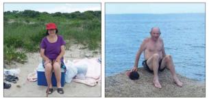 elderly couple beach trip